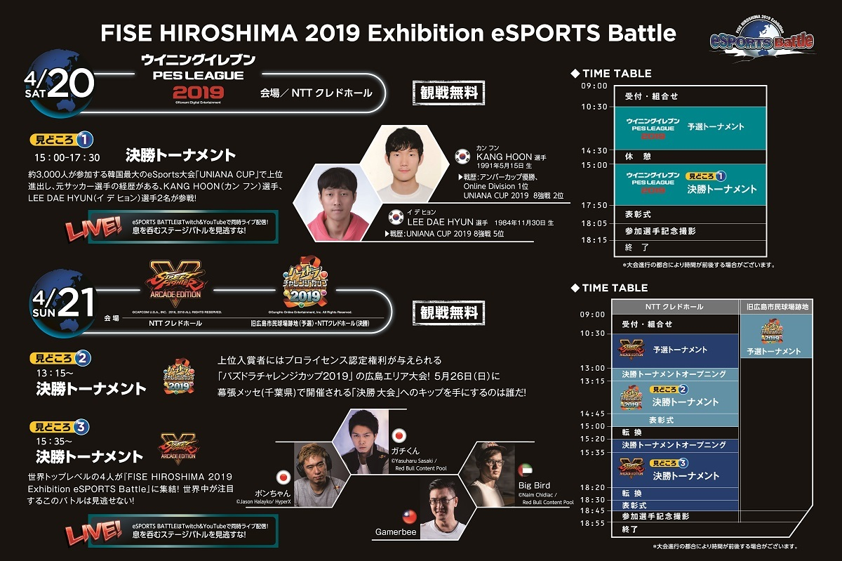 『FISE HIROSHIMA 2019 Exhibition eSPORTS Battle』のスケジュール