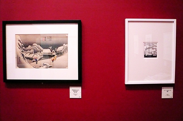 浮世絵とトーべの原画を並べて展示