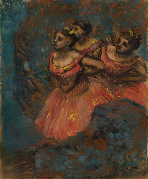 エドガー・ドガ《赤い衣裳をつけた三人の踊り子》1896年 パステル、紙 大原美術館