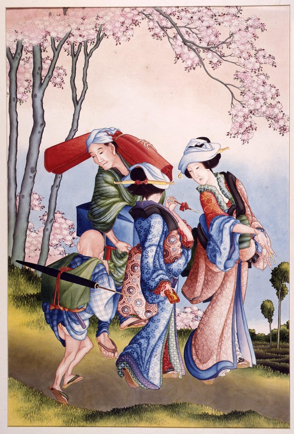 《花見》 文政7~9年(1824~26)頃 ライデン国立民族学博物館 © Collection National Museum van Wereldculturen. RV-1-4482-m
