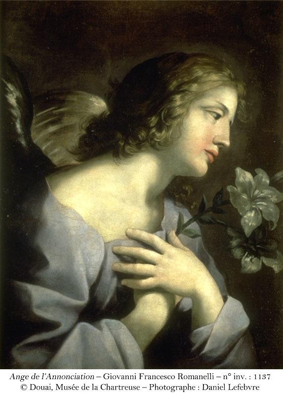 ジョヴァンニ・フランチェスコ・ロマネッリ《受胎告知の天使》 シャルトル会修道院美術館、ドゥエ ⓒMusée de la Chartreuse de Douai