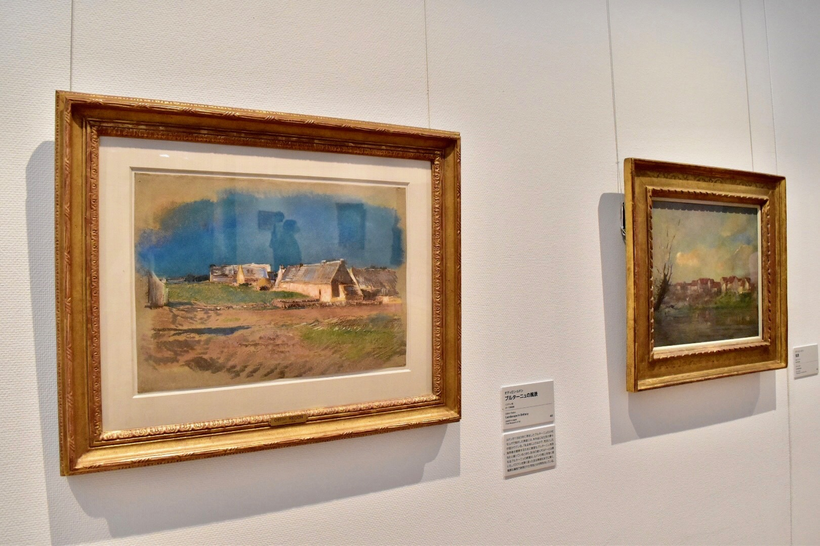 左:オディロン・ルドン 《ブルターニュの風景》 ポーラ美術館 右:オディロン・ルドン 《風景》 岐阜県美術館