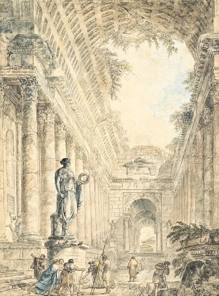 ユベール・ロベール《ローマのパンテオンのある建築的奇想画》  1763 年  ペン・水彩、紙  ヤマザキマザック美術館