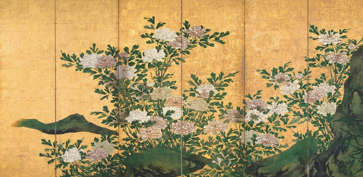 重要文化財 花卉図屏風(右隻) 海北友松筆 妙心寺(京都) 桃山時代 17世紀 通期展示
