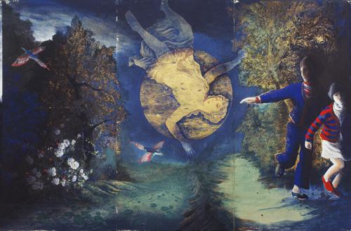 伊藤彬《青幻記》1976年 彩色・紙