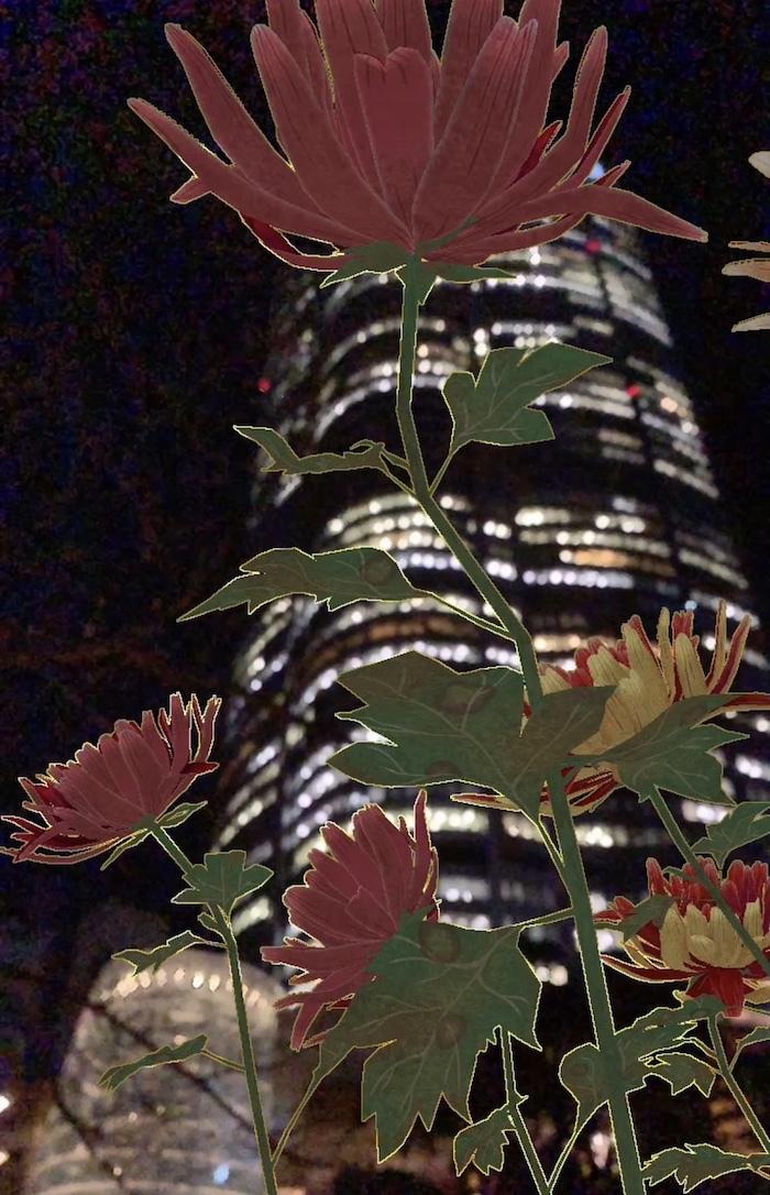 夜の六本木ヒルズに咲かせてみた