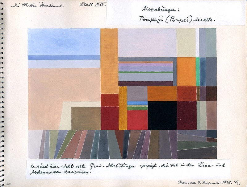 オットー・ネーベル《ポンペイ》『イタリアのカラー・アトラス(色彩地図帳)』より、1931年、水彩・紙、オットー・ネーベル財団