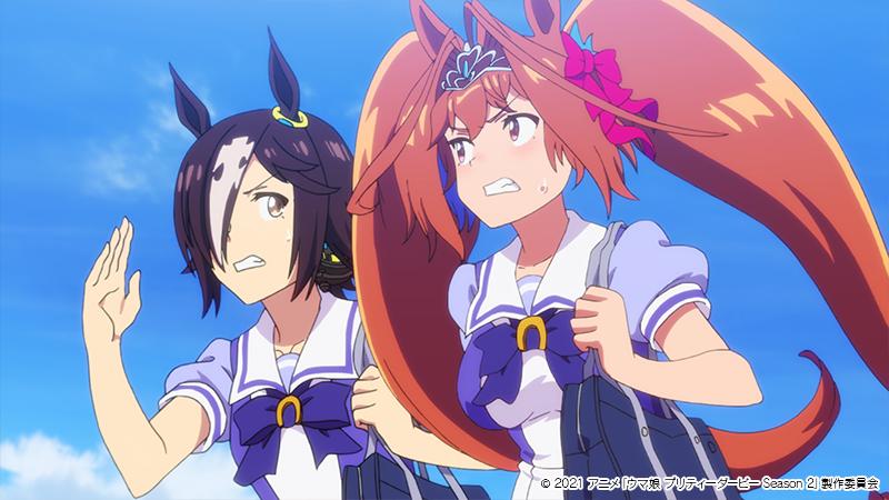 第1話冒頭ではそれぞれの個性が表れたチーム<スピカ>の登校風景が (C) 2021 アニメ「ウマ娘 プリティーダービー Season 2」製作委員会