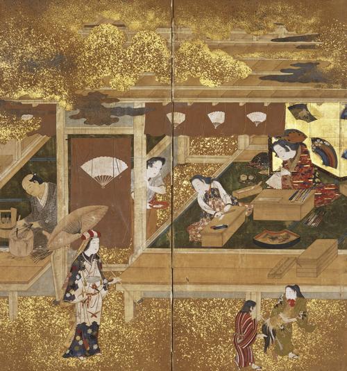 扇屋軒先図 二曲一隻 江戸時代 17世紀 大阪市立美術館 (田万コレクション)