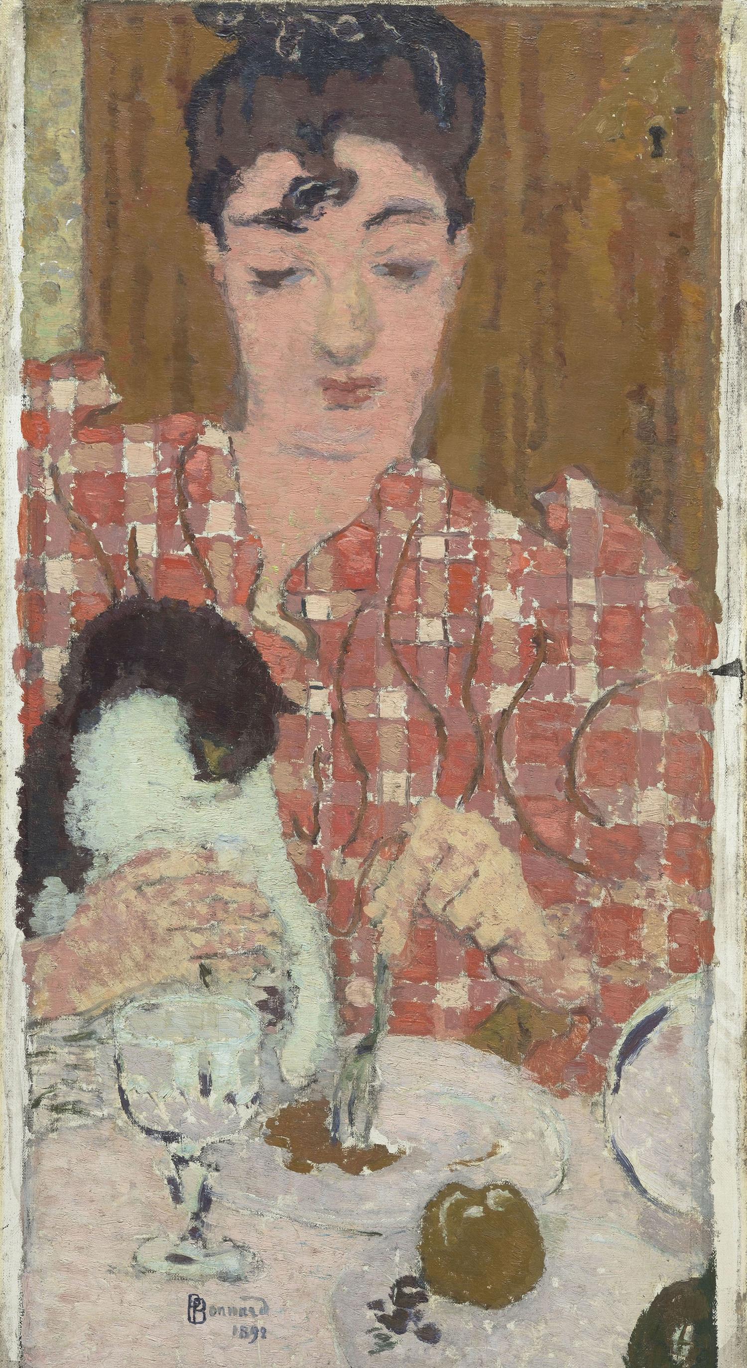 ピエール・ボナール 《格子柄のブラウス》 1892年 油彩/カンヴァス © RMN-Grand Palais (musée d'Orsay) / Hervé Lewandowski / distributed by AMF