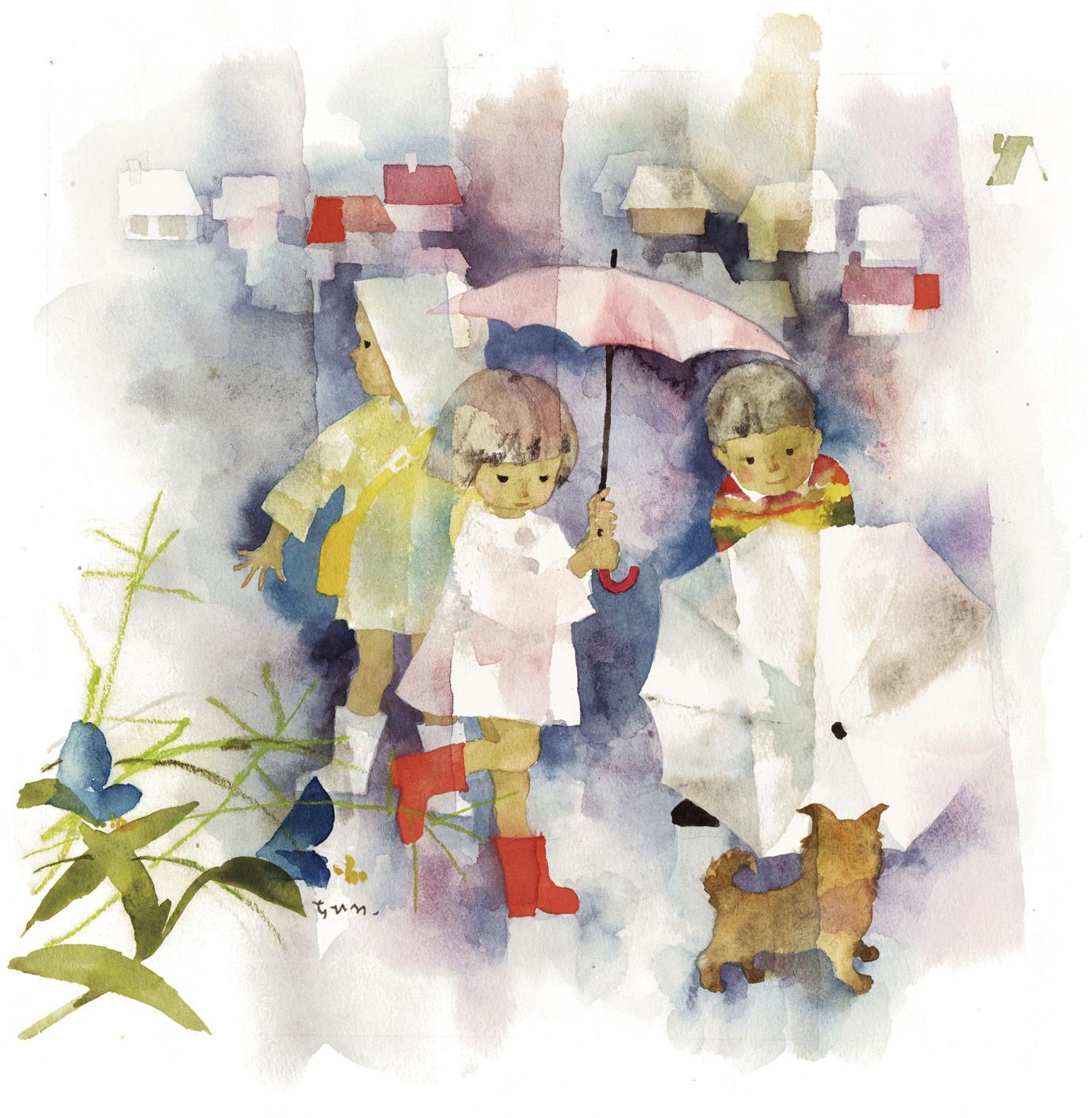 小犬と雨の日の子どもたち 1967年 ちひろ美術館蔵