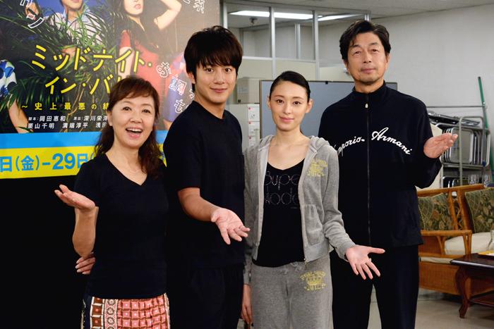 (左から)浅田美代子、溝端淳平、栗山千明、中村雅俊