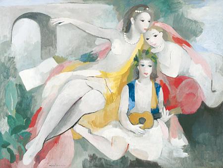 マリー・ローランサン『三人の若い女』1953年頃 マリー・ローランサン美術館蔵
