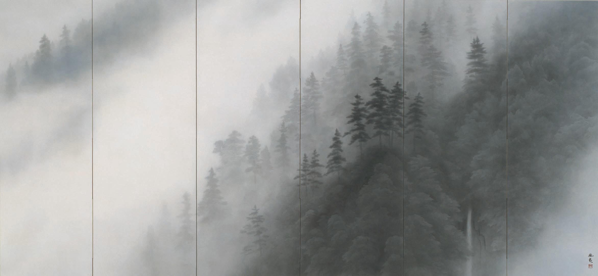 東山魁夷《山峡朝霧》 1983年 パナソニック株式会社蔵