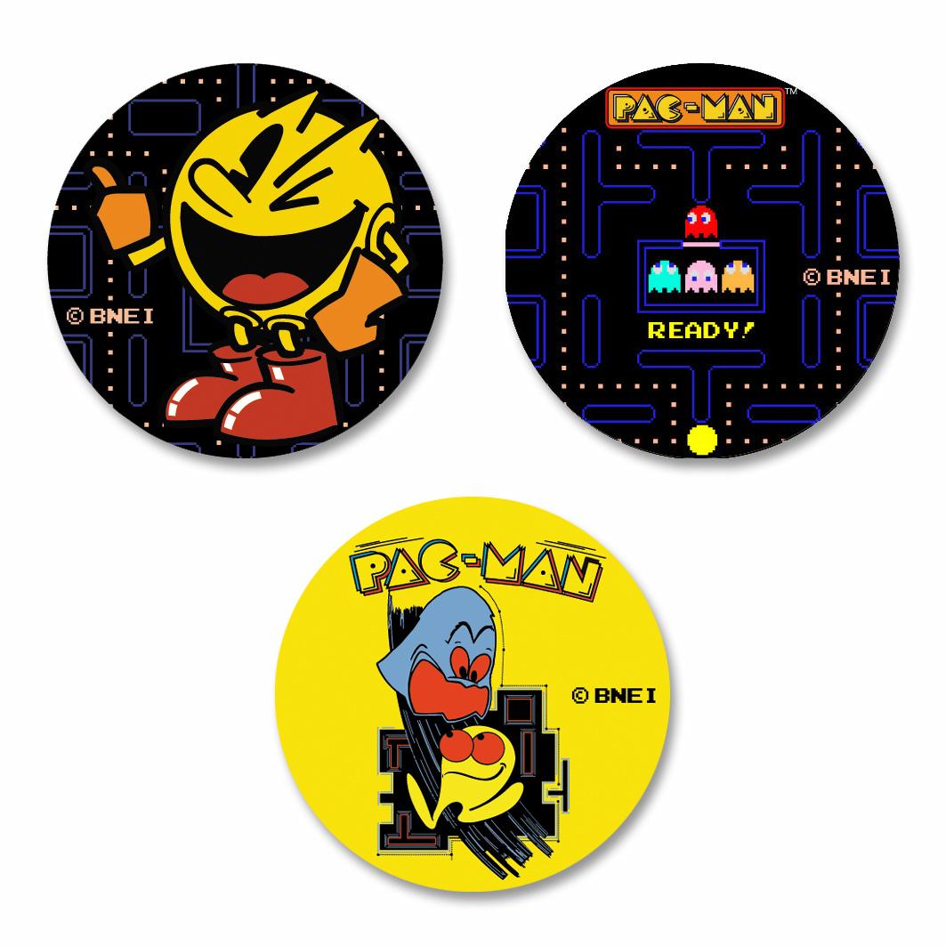 PAC-MAN 缶バッジセット:パックマンの各コンセプトデザイン3種類の缶バッジセット(¥790(税込)) PAC-MAN(C) (C)BANDAI NAMCO Entertainment Inc. (C) GAMES GLORIOUS Inc.
