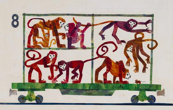 『1,2,3どうぶつえんへ』最終原画、1986年、エリック・カール絵本美術館  © 1968 and 1987 Eric Carle