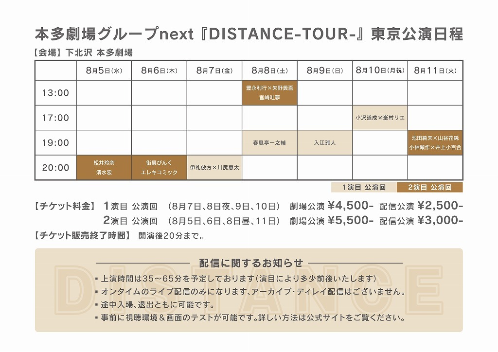 東京公演 タイムテーブル