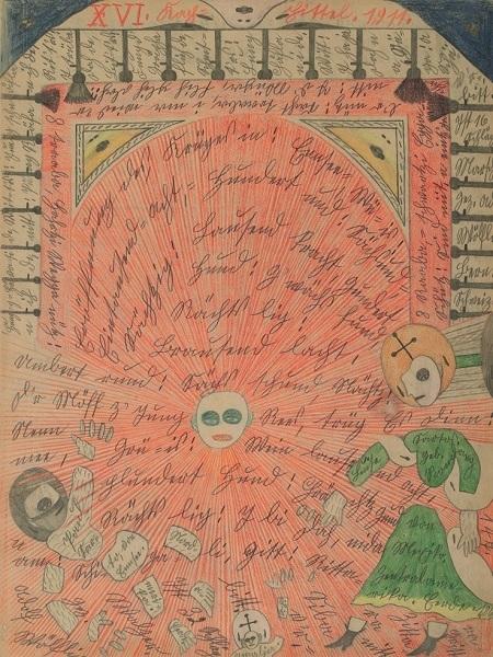 《エン湖での開戦.北アメリカ》1911年 ベルン美術館 アドルフ・ヴェルフリ財団蔵 ⒸAdolf Wölfli Foundation, Museum of Fine Arts Bern