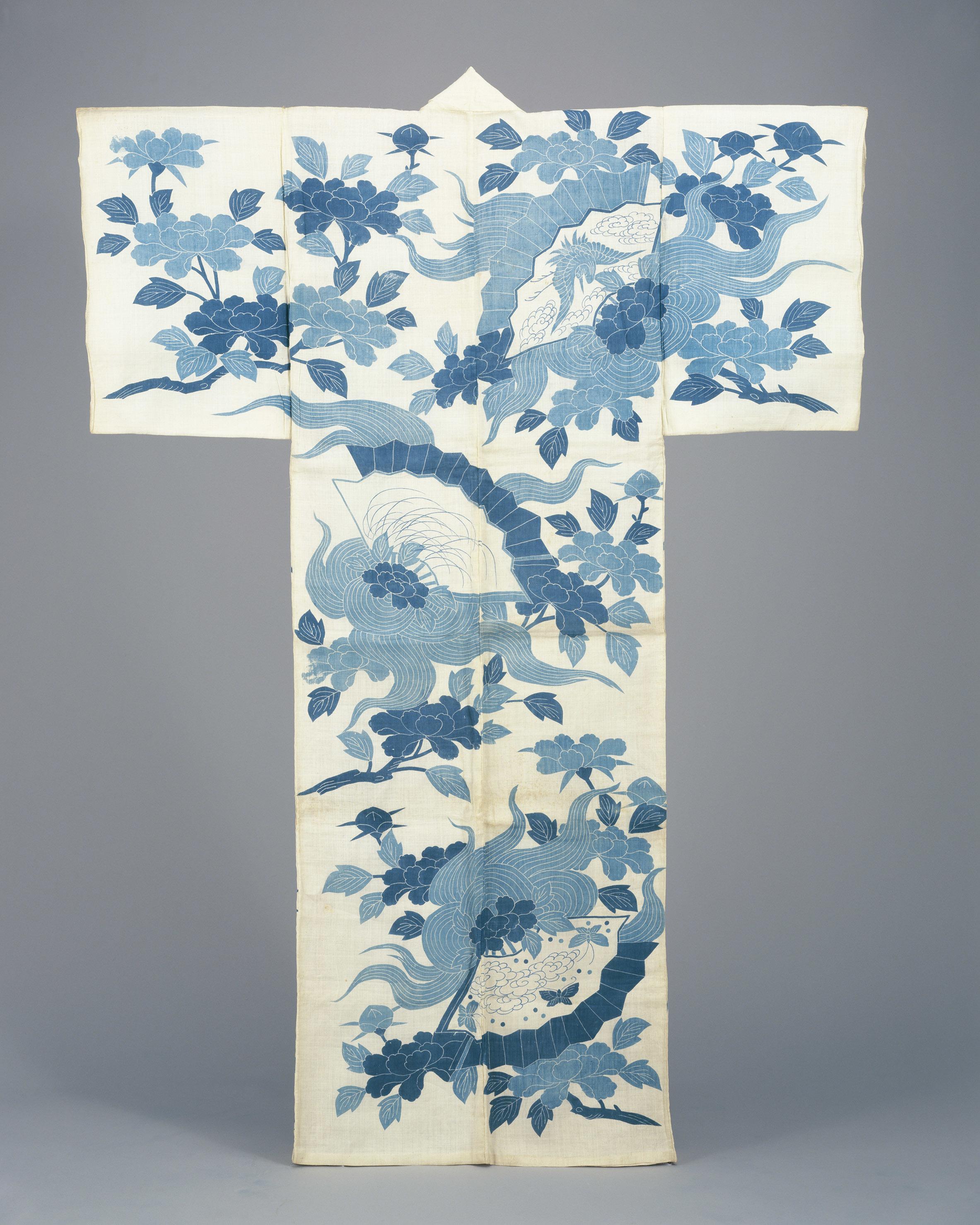 《白麻地石橋模様浴衣》 江戸時代 18世紀後半 東京都江戸東京博物館 [前期展示]