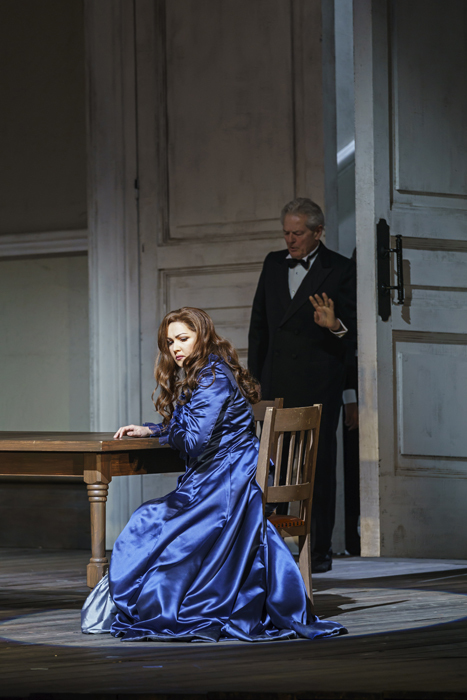 Anna Netrebko as Leonora, Robert Lloyd as Marquis of Calatrava (c)ROH 2019 photograph by Bill Cooper