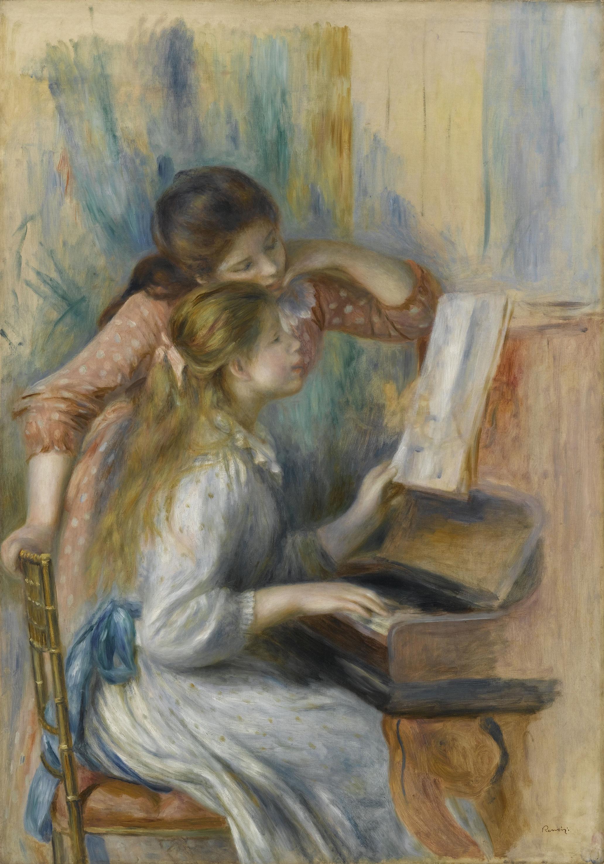 オーギュスト・ルノワール《ピアノを弾く少女たち》1892年頃、油彩・カンヴァス、116×81cm、オランジュリー美術館  (C) RMN-Grand Palais (musée de l'Orangerie) / Franck Raux