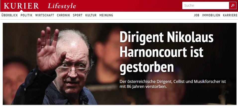 世界のメディアが彼の死を報じ、世界の音楽ファンが悼んでいる(オーストリアの新聞Kurier サイトより)