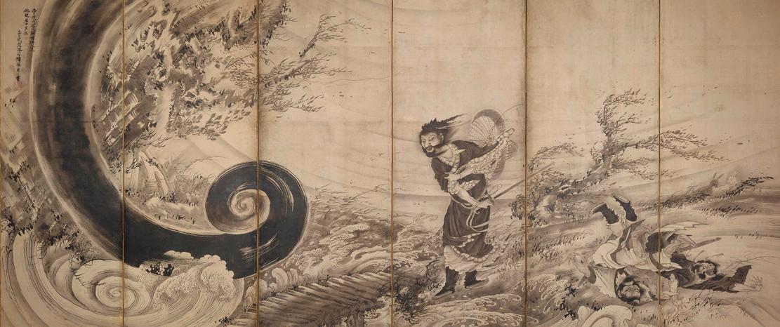 曾我蕭白《風仙図屏風》江戸時代、1764年(宝暦14年/明和元年)頃 155.8cm x 364 cm 六曲一隻、紙本墨画 Fenollosa-Weld Collection, 11.4510 Photograph © 2017 Museum of Fine Arts, Boston
