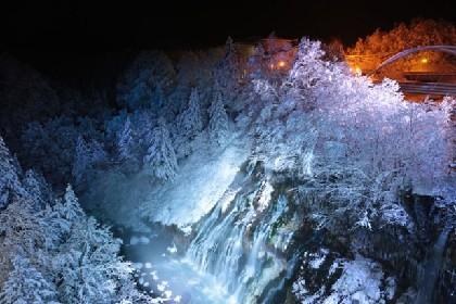 冬だけの幻想夜景!美瑛「白ひげの滝」ライトアップ