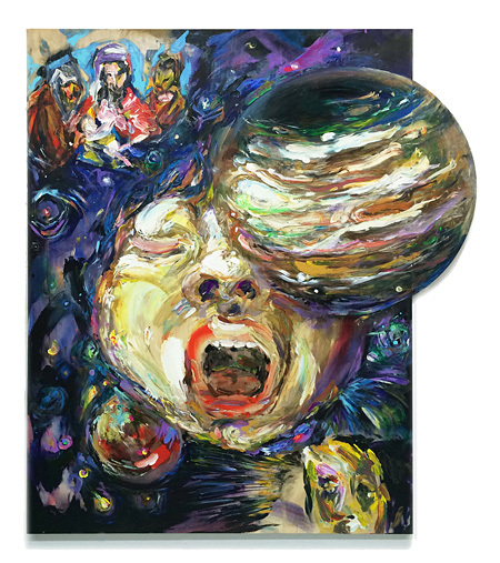 松井えり菜『ジュピター・アタック!』2015、パネルにアクリル絵具、H145.5×W132cm、Courtesy of YAMAMOTO GENDAI
