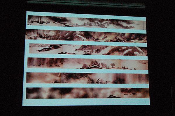 記者発表会スライドより、全長40メートルもの《生々流転》(1923年、東京国立近代美術館蔵)