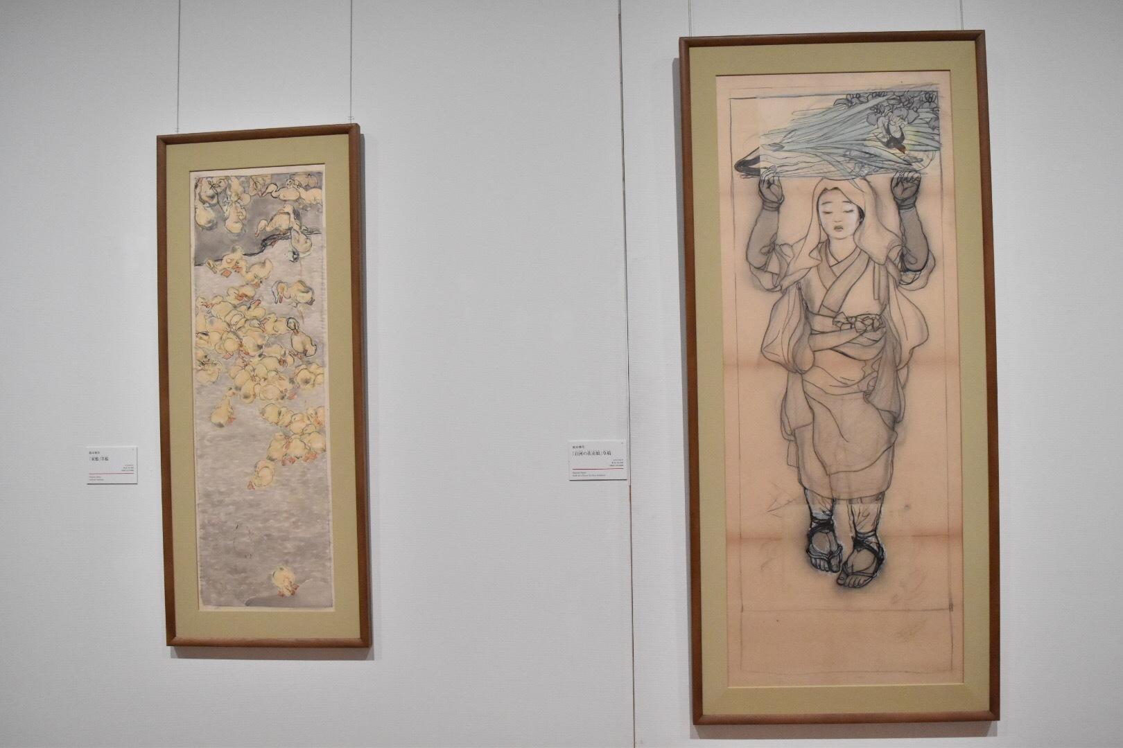 左:岡本神草 「家鴨」草稿 大正5(1916)年 京都国立近代美術館 右:岡本神草 「白河の花売娘」草稿 大正5(1916)年 京都国立近代美術館