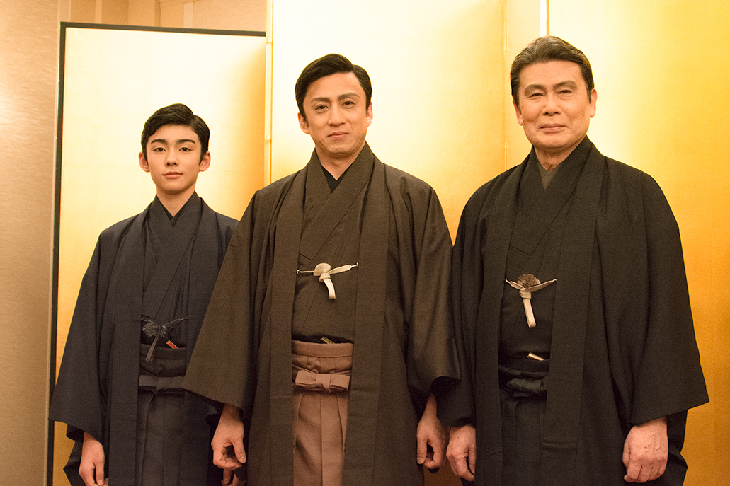 左から、松本金太郎(新市川染五郎)、市川染五郎(新松本幸四郎)、松本幸四郎(新白鸚)