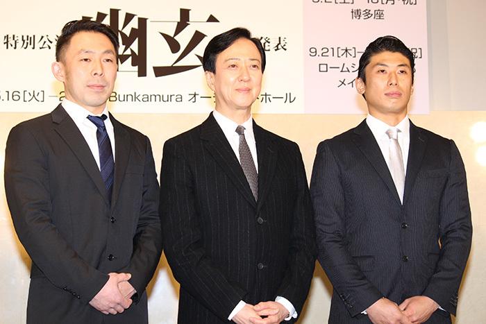 石塚充(鼓童)、坂東玉三郎、中込健太(鼓童)