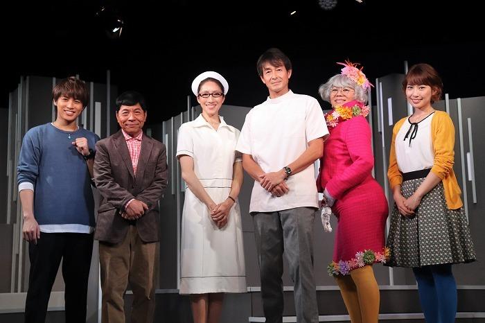(左から)松本幸大(宇宙Six/ジャニーズJr.)、松尾伴内、水夏希、吉田栄作、青木さやか、増田有華
