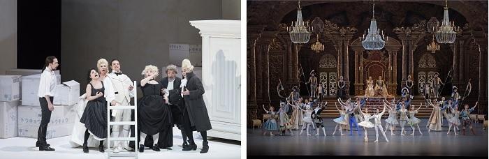 (左から)オペラ『フィガロの結婚』(撮影:寺司正彦)、バレエ『眠れる森の美女』(撮影:鹿摩隆司)