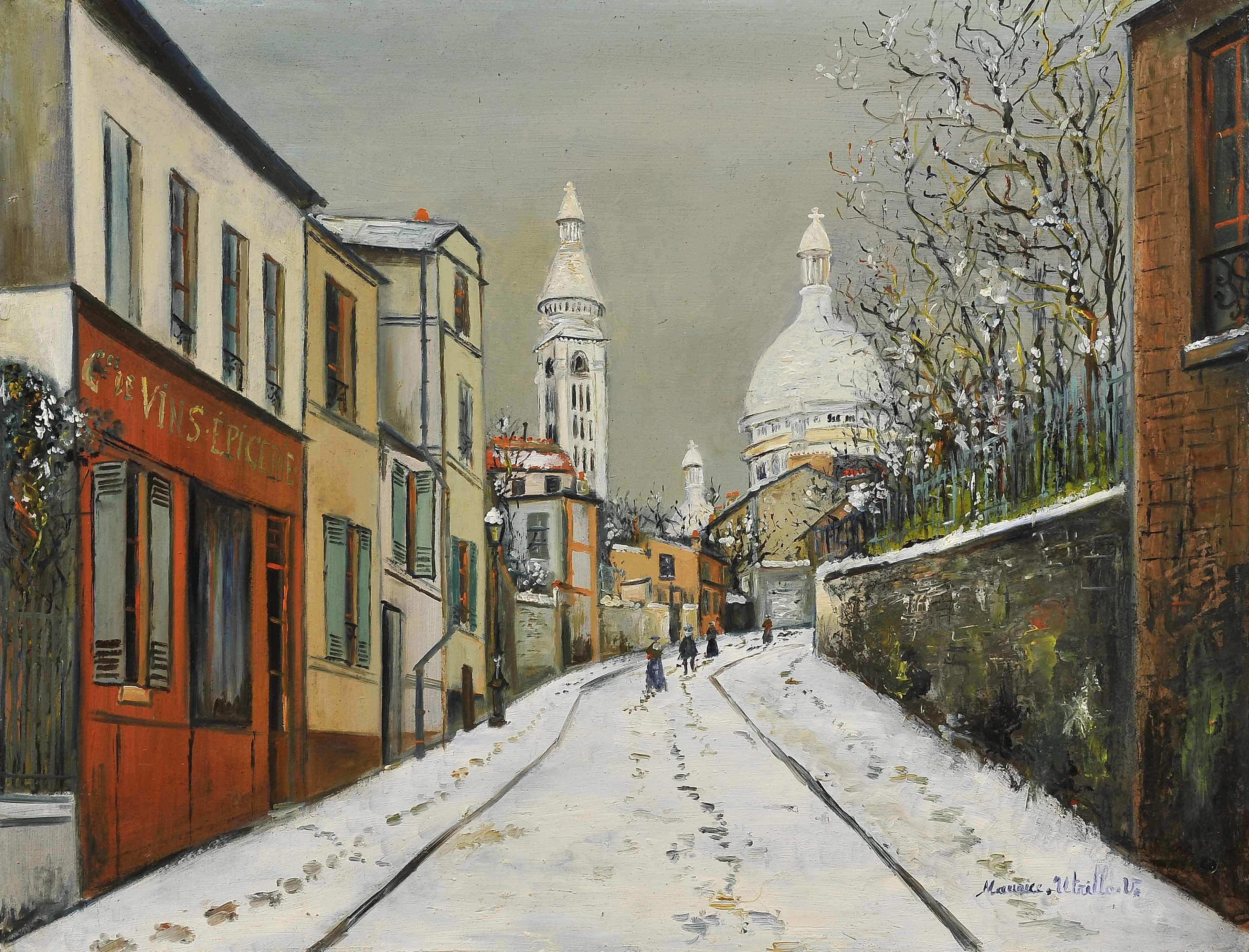 モーリス・ユトリロ 《雪のアブルヴォワール通り》キャンバスに油彩 52×67cm