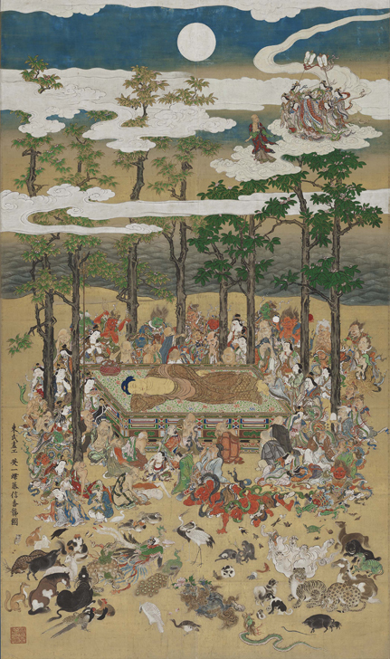 英一蝶《涅槃図》江戸時代、1713年(正徳3年)286.8cm × 168.5cm 一幅、紙本着色 Fenollosa-Weld Collection, 11.4221 Photograph © 2017 Museum of Fine Arts, Boston