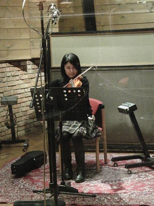ソロヴァイオリンの収録風景