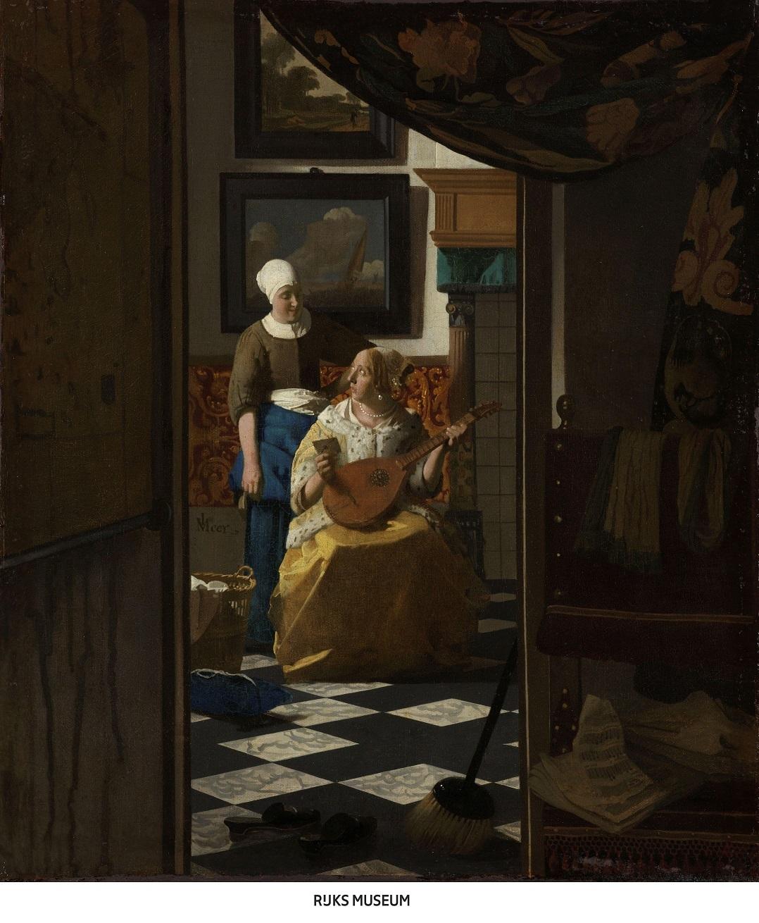 ヨハネス・フェルメール 《恋文》 1669-1670年頃    油彩・カンヴァス 44×38.5cm アムステルダム国立美術館  Rijksmuseum. Purchased with the support of the Vereniging Rembrandt, 1893