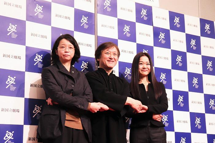 新国立劇場2020/2021シーズンラインアップ発表会 左から、小川絵梨子演劇芸術監督、大野和士オペラ芸術監督、吉田都次期舞踊芸術監督