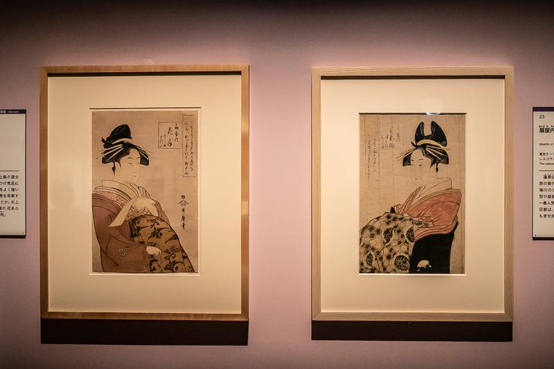 喜多川歌麿(左から)《扇屋内花扇》(ミネアポリス美術館)、《扇屋内蓬莱仙》(レスコヴィッチコレクション)ともに1793-1794年頃制作