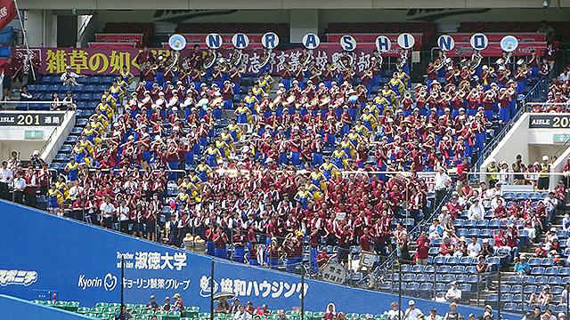 習志野高校吹奏楽部は全日本吹奏楽コンクール常連校で、試合中はマリーンズの応援に特別参加する
