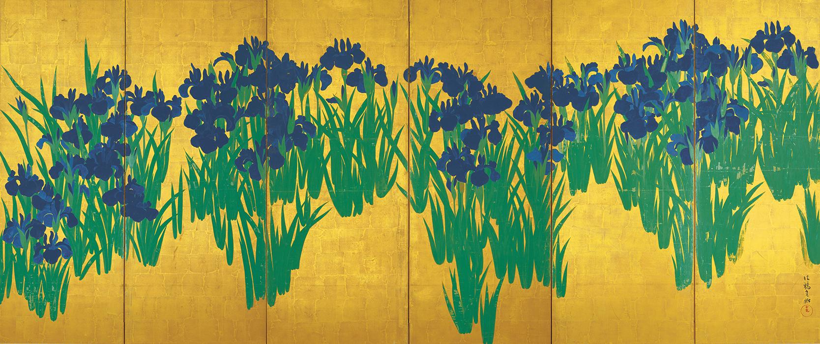 国宝 燕子花図屏風(右隻) 尾形光琳筆 江戸・18世紀 東京・根津美術館 11月14日~11月26日展示