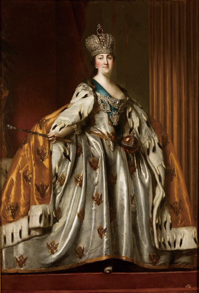 ウィギリウス・エリクセン 《戴冠式のローブを着たエカテリーナ2世の肖像》 1760年代 (C)The State Hermitage Museum, St Petersburg, 2017-18