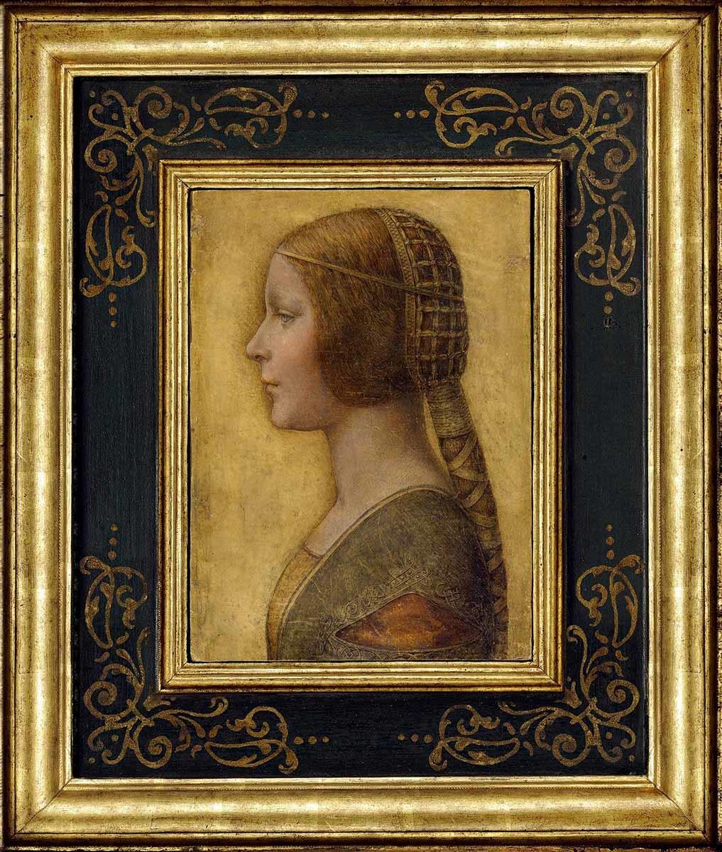 レオナルド・ダ・ヴィンチ(帰属) 《美しき姫君 (ビアンカ・スフォルツァ?)》 1495年頃 個人蔵