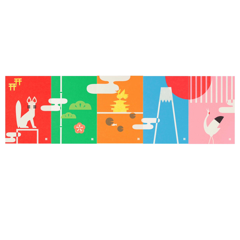はがき  伏見稲荷、松竹梅、金閣寺、富士山、鶴 販売価格:各350円 越前和紙をベースに、 色鮮やかな各色の和紙で日本の風景が描かれている。全種類を並べると一枚絵に。