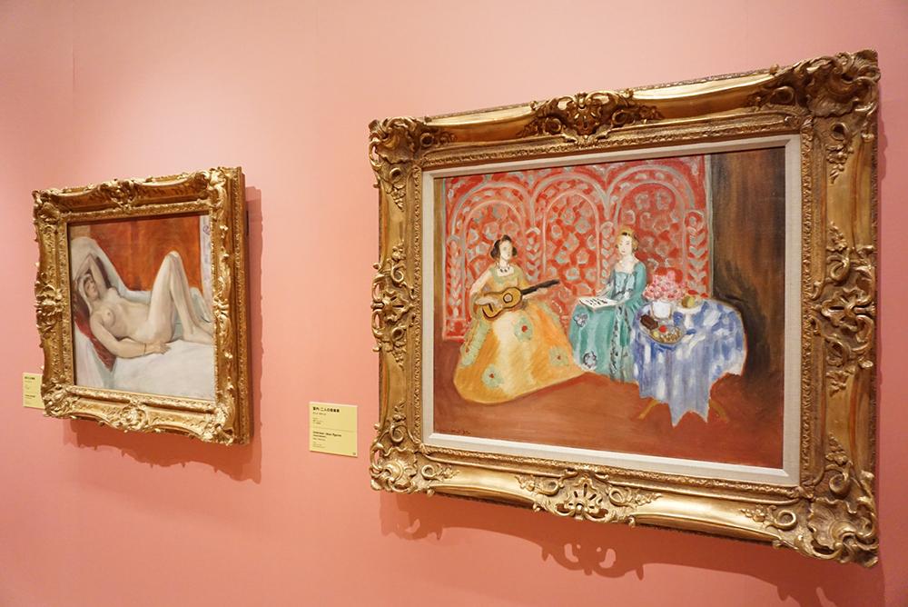 アンリ・マティス 左:《横たわる裸婦》1921年、右:《室内:二人の音楽家》1923年 ポーラ美術館