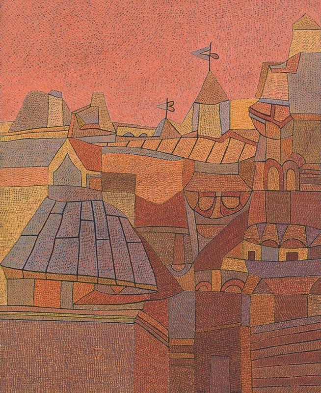 オットー・ネーベル《ムサルターヤの町 Ⅳ 景観B》1938年、グアッシュ・紙、ベルン美術館