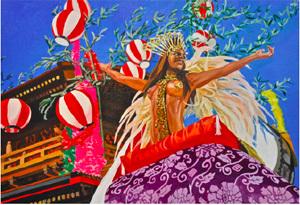 炭田紗季(すみだ・さき) 《お祭り》(2014)、 803×1167mm, Oil on canvas © the Artist, courtesy of Yuka Tsuruno Galler 展示期間【Term2】7 月24 日-8 月13 日