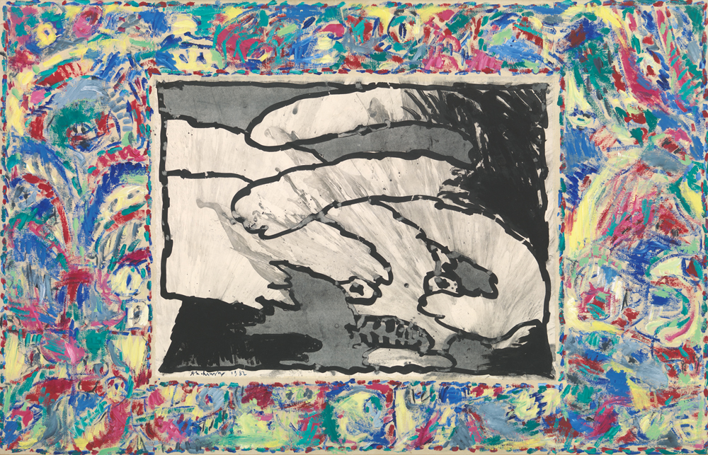 《至る所から》 1982年 インク/アクリル絵具、キャンバスで裏打ちした紙 ベルギー王立美術館蔵  (C) Royal Museums of Fine Arts of Belgium, Brussels/ photo : J. Geleyns - Ro scan (C)Pierre Alechinsky, 2016